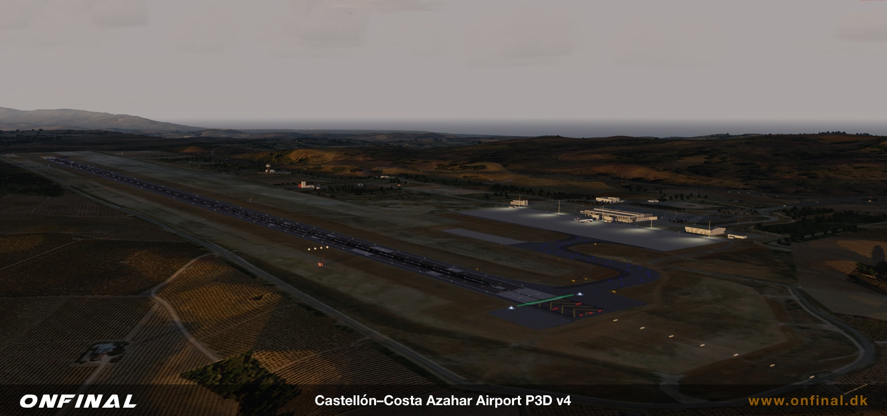 Castellon Airport LECH Runway Night Scenery Prepar3d P3D FSX